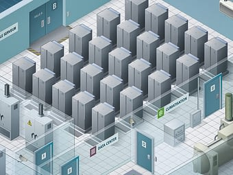 Illustration isométrique d'un data center